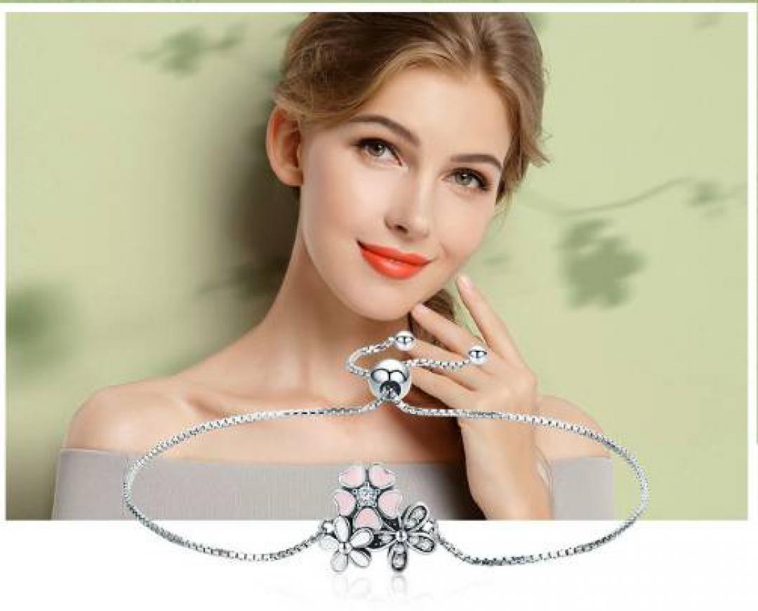 Minimalistic Silver Bracelet with Cherry Blossom Flower Bracelets Women Jewelry Length : 20-23cm
